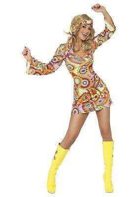 WOMEN'S GROOVY BABY PAISLEY HIPPIE DRESS COSTUME SIZE SMALL (with - Hippie Baby Costume