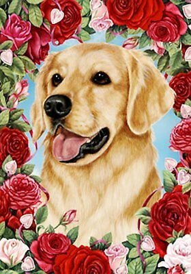 Best of Breed Garden Flag GOLDEN RETRIEVER Valentine Roses b
