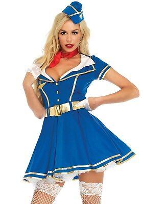 Stewardess Kostüm Blau (Leg Avenue 86712 Damen Kostüm Stewardess Flugbegleiterin Pilot Sky High Hott)