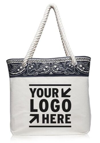 25 Personalized Paisley Pattern Canvas Tote Bag Printed With your Logo / Message
