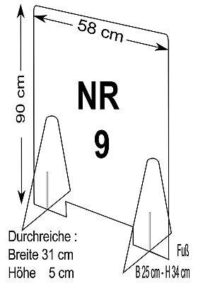 Spuckschutz Nr.9 -Schutzscheibe Breite 58 cm, Höhe 90 cm, Durchreiche 31 x 5 cm