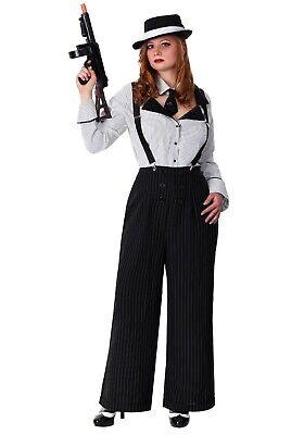 WOMEN'S PINSTRIPE GANGSTER MOB MAFIA BOSS SCARFACE COSTUME SIZE PLUS 1X - Scarface Kostüm