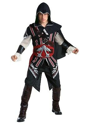 ADULT ASSASSINS CREED MASTER ASSASSIN EZIO DELUXE COSTUME SIZE M (with defect) - Ezio Black Costume