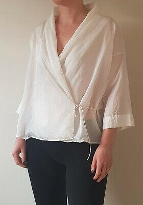 ISA ARFEN white silk blend shirt kimono blouse top Size S
