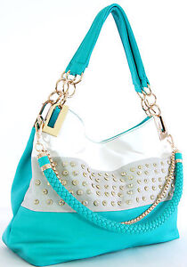 Handbag-Republic-Rhinestoned-Tote-Shoulder-bag-BLUE