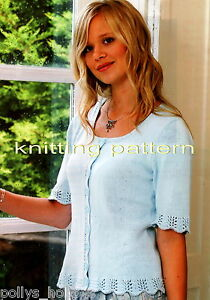 KNITTING-PATTERN-LADIES-SHAPED-LACY-CARDIGAN-W-SHORT-SLEEVES-4-PLY-190