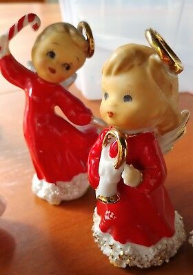 VINTAGE CHRISTMAS ANGEL FIGURINES CERAMIC SET OF 2 RED DRESS JAPAN