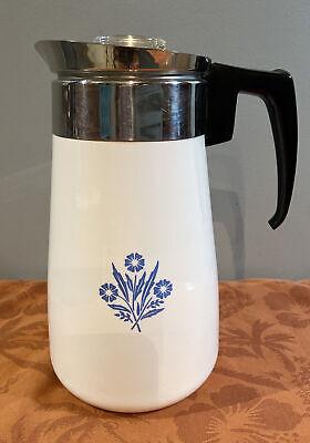 Vintage Corning Ware Ble Cornflower 9 Cup Percolator Coffee Pot