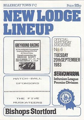 Billericay Town v Bishops Stortford 1983/4 (20 Sep) Isthmian League
