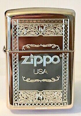 Zippo Windproof Brass Lighter With Frame Design & Zippo Logo, 63920, New In Box