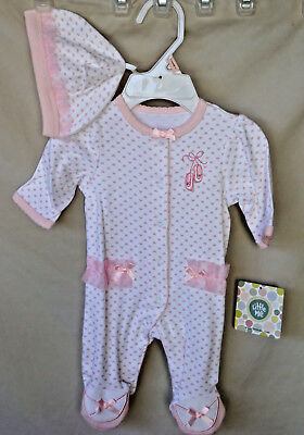 LITTLE ME 100% Cotton White/Pink Prima Ballerina Footie w/Hat GIRL SIZES  NWT