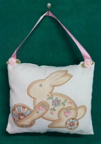 Handmade Fabric NURSERY DOOR KNOB HANGER Bunny Rabbit w/Pink Ribbon Hanger