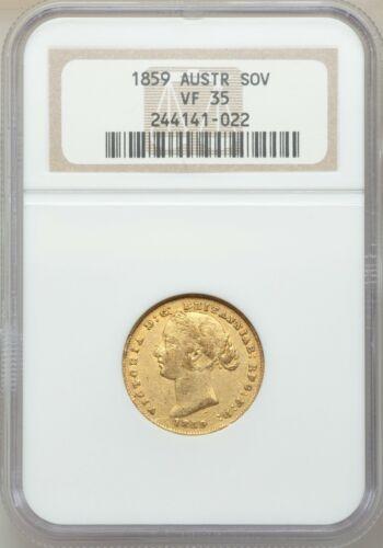 Scarce 1859 Sydney Australia Full Gold Sovereign NGC VF35 Lovely Coin