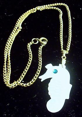 Vintage MOP Mother of Pearl Sea Horse Necklace w/Faux Emerald Eye