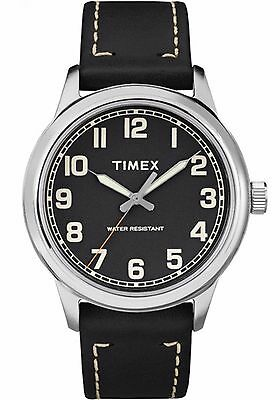 Timex TW2R22800, Men's Easy Reader Black Leather Watch, New England