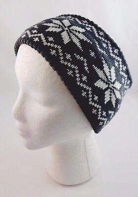 Gray Knit Headband Head Wrap Ear Warmer Extra Wide White Snowflakes (Snowflake Headband)