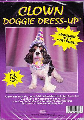 Halloween Clown Doggie Dress Up Costume - Fits Most - New Collar & Headpiece ()