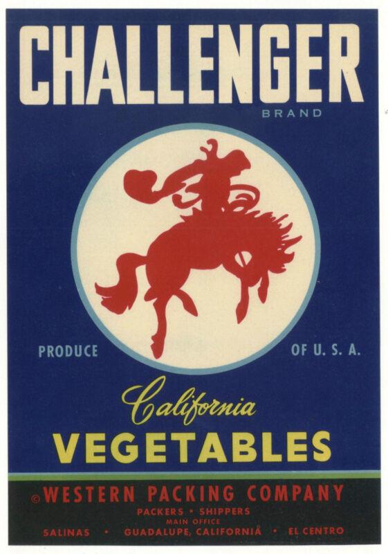 *Original* CHALLENGER Cowboy WESTERN Horse BUCKING BRONCO Vegetable Crate Label