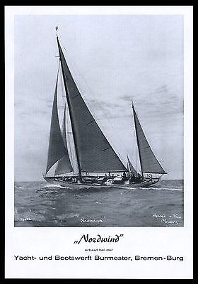 Grosse Werbung 1961 Segel-Yacht NORDWIND Boots-Werft Burmester Bremen-Burg
