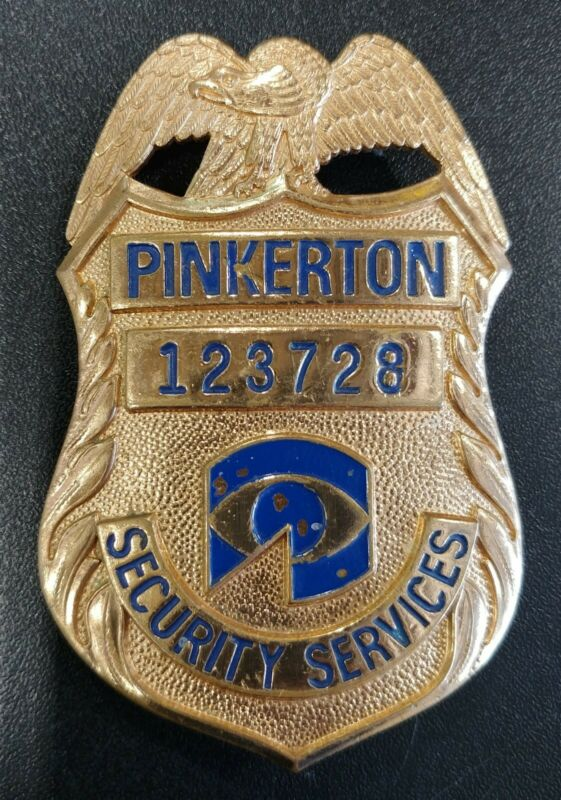 Vintage Pinkerton Security Services Metal Badge Obsolete Gold Tone