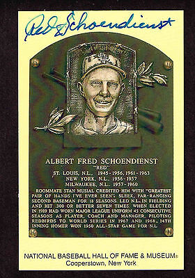 RED SCHOENDIENST SIGNED Hall Fame Plaque HOF Yellow  Postcard Autographed  COA