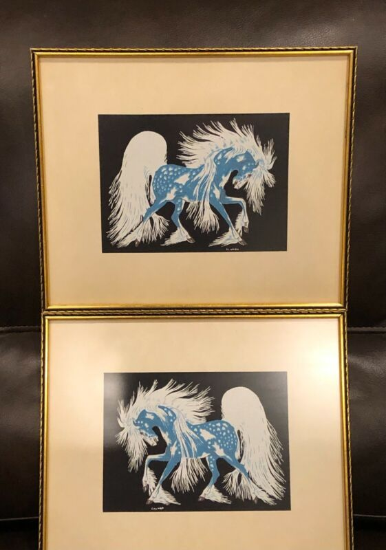 "VTG TWO (2)WOODY CRUMBO Framed ""Spirit Horse"" Native American Silk Screen Prints"