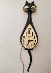 Retro Spartus Black Cat Electric Wall Clock w Moving Tail & Eyes. Works.