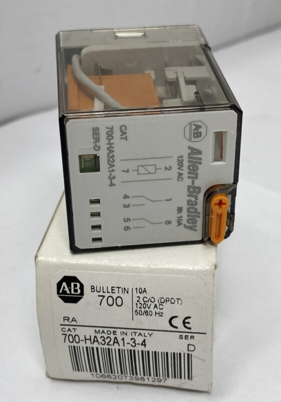Allen Bradley 700-HA32A1-3-4 Tube Base Relay 10A Contact DPDT 120V Coil (NEW)