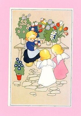 Angels and Little Girl Holding Flowers Vintage Postcard Little Angels Flower Girl
