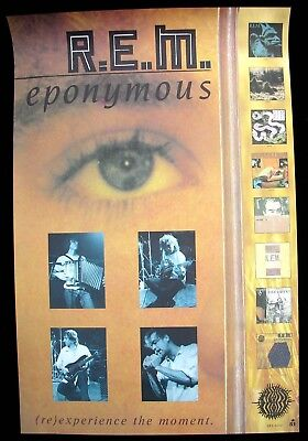 R.E.M. REM Michael Stipe Peter Buck Eponymous USA Poster Mint- 1988 Original (:)