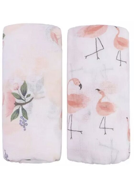 """Bamboo Muslin Swaddle Blankets - 2 Pack""""Floral & Flamingo Print"""" Baby Swaddle"""