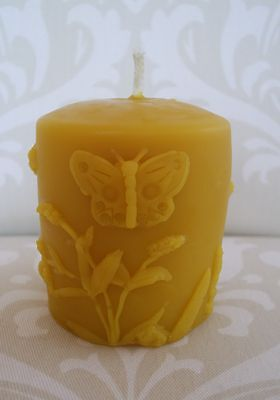 Handmade 100  Beeswax Candle   Butterfly And Lilac Flowers Pillar