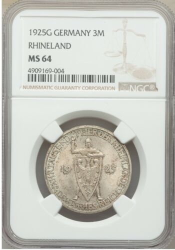 1925 G Germany Silver 3 marks-1000 years Rhineland/Medieval Knight NGC MS64