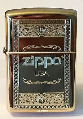 Zippo Windproof Brass Lighter With Frame Design & Zippo Logo, 63920, New In Box