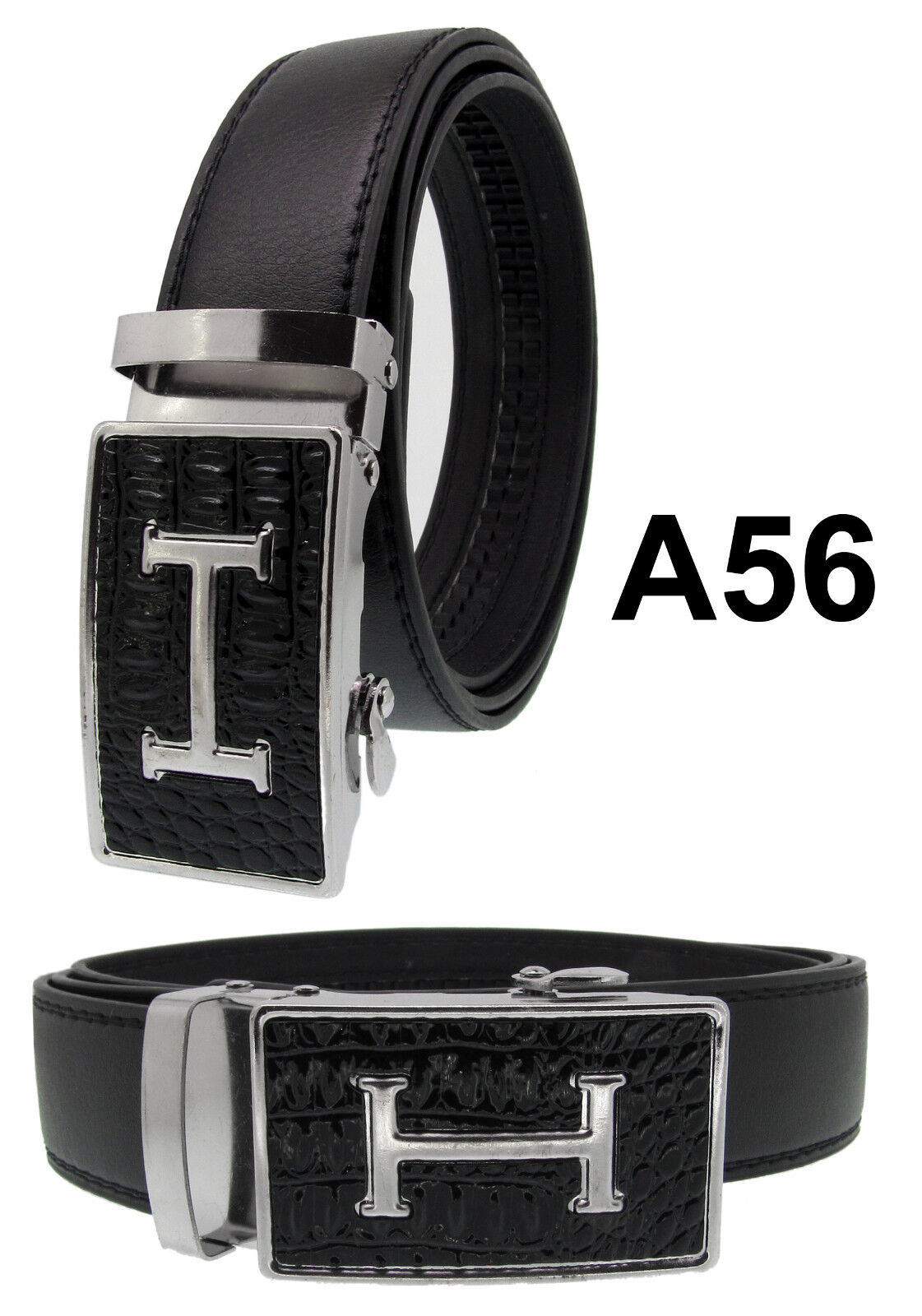Men Automatic Ratchet Click Lock Black Belt G Buckle Genuine Leather Style A56 Belts