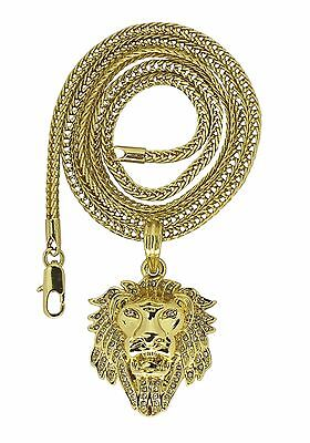 "Mighty Lion Head 14k Gold Plated Cz  24"" Franco Necklace Hip Hop"