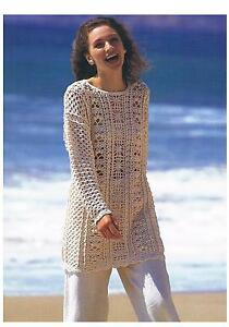Crochet Pattern Ladies Loose-Fit Long Summer Top Tunic PATTERN ONLY 30-44
