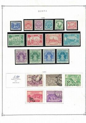 burma stamps -1954 album page -definitives- mint LH - good used fresh