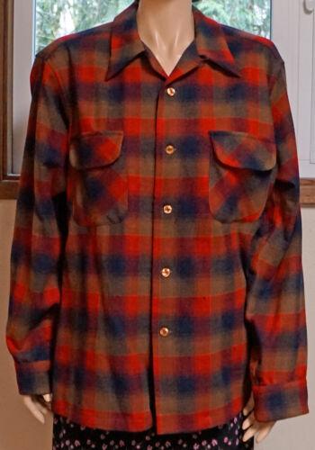 Vintage Pendleton Plaid Long Sleeve Shirt Made In Portland Large Tartan Plaid