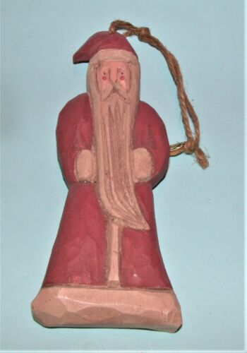 Boyds Bears, ornament, Santa, vintage (c)1990 wood carved look, initials JS New