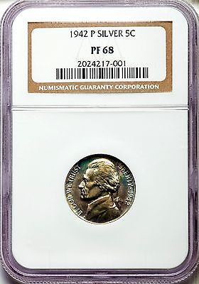 Click now to see the BUY IT NOW Price! 1942 JEFFERSON SILVER NICKEL TYPE TWO 2 NGC PF68 PR68 NEAT TONING PG   $5,500