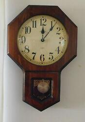 Vintage Verichron Harris & Mallow Regulator Walnut  Wall Clock Quartz Movement