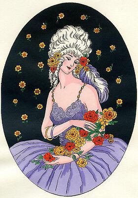 1930s French Pochoir Print Young Woman White Hair Fashion Roses Bouquet  L