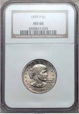 Click now to see the BUY IT NOW Price! 1979 P SBA SUSAN B ANTHONY NARROW RIM NGC MS68  POP 5/0 PG   $7,500