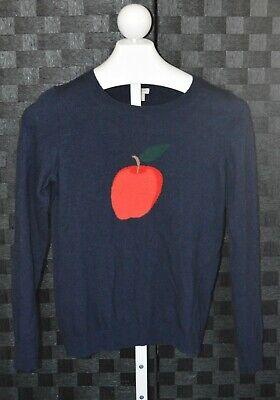 J. Crew women's sz S blue red Apple  long sleeve wool blend pullover sweater