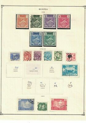 burma stamps -1949-53 album page -definitives- mint LH - good used