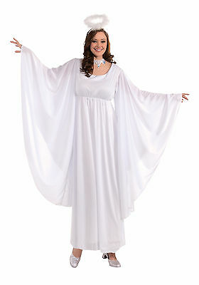 Plus Size Christmas Costume (Womens Plus Size Angel Costume Christmas Halloween White Gown Dress Robe)