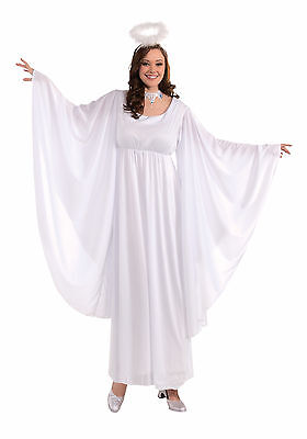 Womens Plus Size Angel Costume Christmas Halloween White Gown Dress Robe - Plus Size Christmas Costume