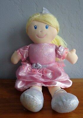 Kids Preferred Princess Plush Doll Glittery Pink Silver Blonde Hair Sewn Eyes