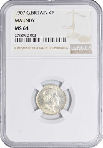 1907 Great Britain MS64 4 Pence Silver Coin Maundy NGC KM 798 640 Registry pts